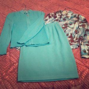 St. John 3 piece suit. Gorgeous turquoise color!